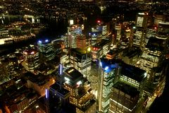 Skyline de Sydney na noite Foto de Stock Royalty Free