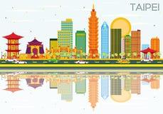 Skyline de Taipei com construções da cor, o céu azul e as reflexões ilustração royalty free
