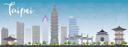 Skyline de Taipei com marcos cinzentos e o céu azul ilustração do vetor