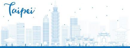 Skyline de Taipei do esboço com marcos azuis Fotografia de Stock