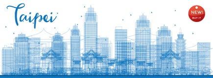 Skyline de Taipei do esboço com marcos azuis ilustração royalty free
