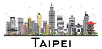 Skyline de Taipei Taiwan com Gray Buildings Isolated na parte traseira do branco ilustração royalty free