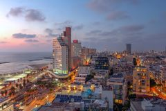 Skyline de Tel Aviv, Israel imagens de stock