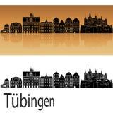 Skyline de Tubinga no fundo alaranjado fotografia de stock royalty free