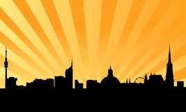 Skyline de Viena com fundo Imagens de Stock