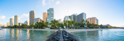 Skyline de Waikiki Imagens de Stock