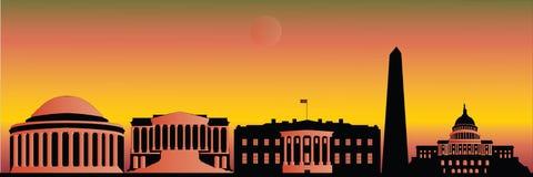 Skyline de Washington na noite ilustração stock