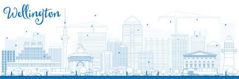 Skyline de Wellington do esboço com construções azuis ilustração royalty free