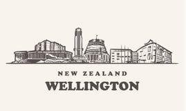 A skyline de Wellington, ilustração do vetor do vintage de Nova Zelândia, entrega construções tiradas de Wellington no fundo bran ilustração stock