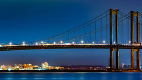 Skyline de Wilmington quadro pela ponte de memorial de Delaware Fotos de Stock Royalty Free