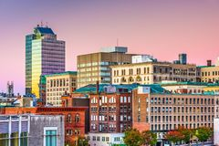Skyline de Worcester, Massachusetts, EUA foto de stock