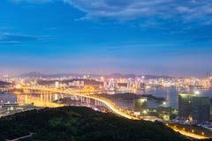 Skyline de Xiamen na noite Fotos de Stock