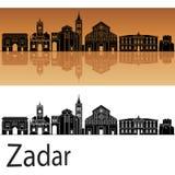 Skyline de Zadar no fundo alaranjado imagem de stock royalty free