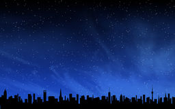 Skyline and deep night sky Royalty Free Stock Images
