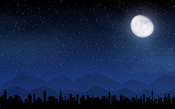 Skyline and deep night sky Royalty Free Stock Photography