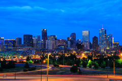Skyline of Denver at night in Colorado, USA. Stock Images