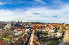 Skyline der alten Stadt von Erfurt, Deutschland Lizenzfreies Stockbild