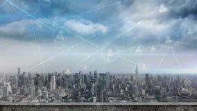 Skyline der Stadt mit Datenverbindungen stock abbildung