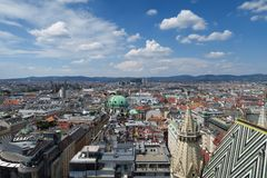 Skyline des ersten Bezirkes in Austrias-Hauptstadt Wien Lizenzfreies Stockfoto