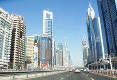 Skyline des Scheichs Zayed Road, Stadt von Dubai Lizenzfreies Stockfoto