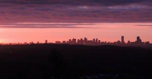 Skyline do alvorecer de Boston Fotos de Stock