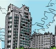Skyline do bloco de apartamentos
