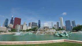 Skyline do centro de Chicago da opinião da fonte de Buckingham video estoque