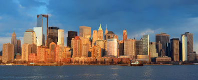 Skyline do centro de Manhattan Foto de Stock Royalty Free