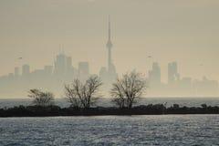 Skyline do centro de Toronto através do embaçamento do amanhecer imagens de stock royalty free