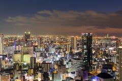 Skyline do centro do negócio central da noite Fotografia de Stock Royalty Free