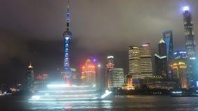 Skyline do centro financeiro de China na noite filme
