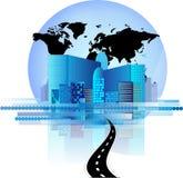 Skyline do escritório com o globo da estrada e do mundo Foto de Stock