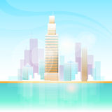 Skyline do fundo da arquitetura da cidade da opinião do arranha-céus da cidade Fotografia de Stock