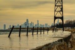 Skyline do inverno de Chicago fotos de stock royalty free