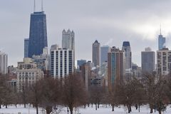 Skyline do inverno de Chicago Imagem de Stock Royalty Free