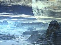 Skyline do inverno no mundo estrangeiro imagem de stock royalty free