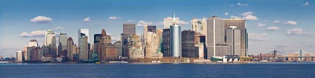 Skyline do Lower Manhattan da balsa do console de Staten Fotos de Stock