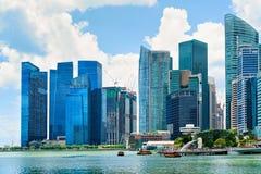 Skyline do núcleo do centro em Marina Bay Financial Center Singapor Imagem de Stock Royalty Free