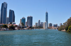 Skyline do paraíso dos surfistas - Gold Coast Queensland Austrália Imagem de Stock