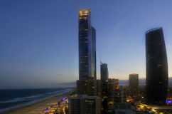 Skyline do paraíso dos surfistas - Queensland Austrália Fotos de Stock Royalty Free