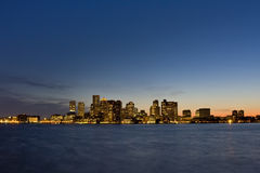 Skyline do por do sol de Boston Imagens de Stock Royalty Free