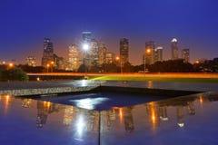 Skyline do por do sol de Houston de Texas E.U. Fotos de Stock Royalty Free