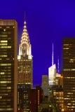 Skyline do por do sol de Manhattan New York do leste Imagens de Stock Royalty Free