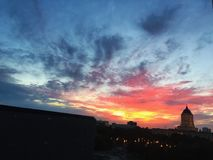 Skyline do por do sol multicoloured Foto de Stock Royalty Free