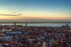 Skyline do por do sol, Veneza, Itália Foto de Stock Royalty Free