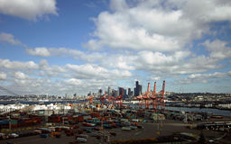 Skyline do porto de Seattle Fotos de Stock