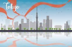Skyline do Tóquio com arranha-céus, sol e reflexão ilustração do vetor