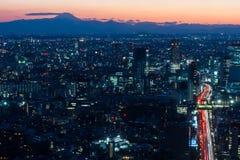 Skyline do Tóquio e montanha de Fuji Fotos de Stock Royalty Free