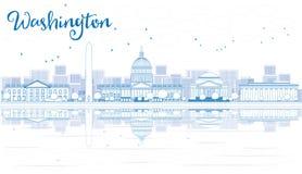 Skyline do Washington DC do esboço com construções azuis e reflexão ilustração do vetor