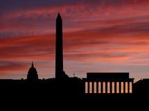 Skyline do Washington DC no por do sol ilustração royalty free